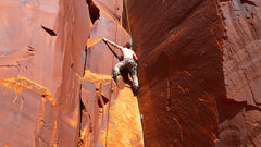 Rock Climbing Photo: Start of the thin crack crux of Ladies First.