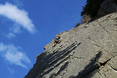 Rock Climbing Photo: leading up k crack...giving her some much deserved...