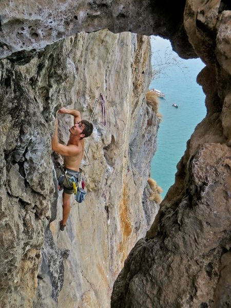 Past high crux on The King and I. West Railay Beach in Krabi, Thailand.