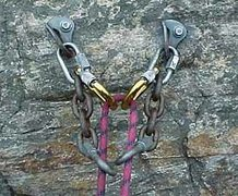 Rock Climbing Photo: Anchor rigged to keep tr from rubbing on links. Th...