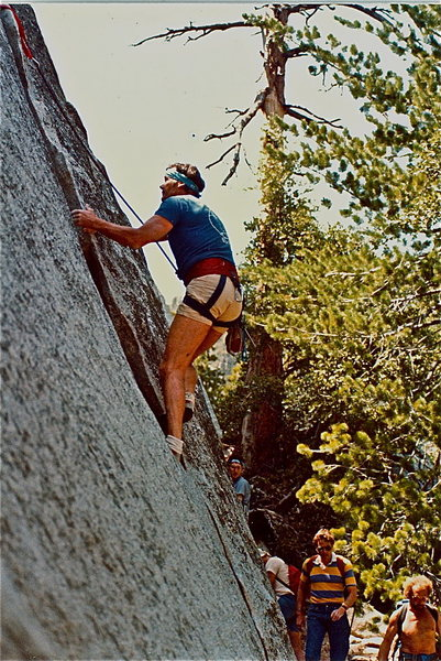 """Ron Hayes following """"The Shadow"""", but this is about where you would head over to the right on to """"Free Lance""""...anybody recognize the climber walking down the trail? Is that Eric Ericksson? circa 1981"""