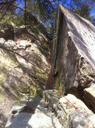 Rock Climbing Photo: Pitch 2: climb dihedral to ledge, then go up (yell...