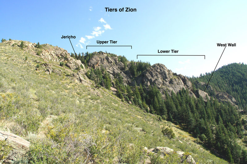The Tiers of Zion from the lower approach trail.