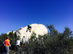 Rock Climbing Photo: Cruising up the nice lip to the finish.