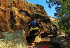 Rock Climbing Photo: Positioning for the move to the right hand edge on...