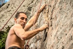 Rock Climbing Photo: Flake by bolt 3