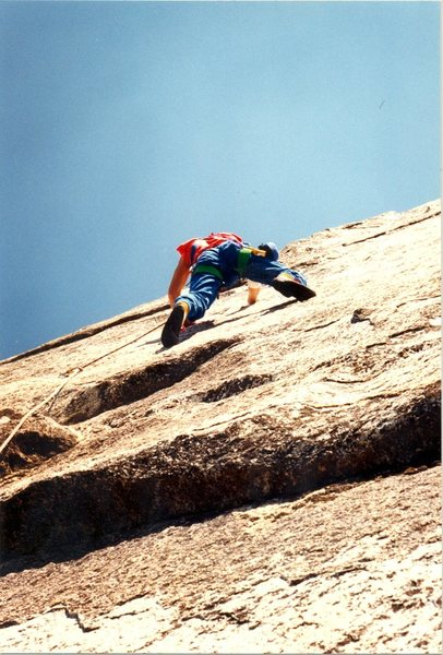 Mark Wagner leading the crux second pitch. 1991...no falls...in those floppy original Fires.