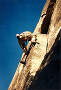 Rock Climbing Photo: Peter Hayes leading the .10 b/c thin crack first p...