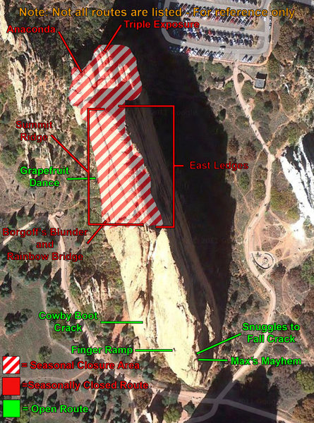 Rock Climbing Photo: Map of North Gateway closures.