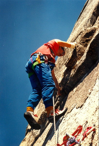 Rock Climbing Photo: Mark Wagner right after the crux moves on the seco...