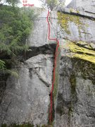 Rock Climbing Photo: Topo for Splitfinger