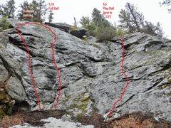 Rock Climbing Photo: Topo for Ball Park Area (Far right side of wall)