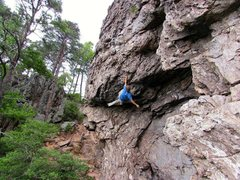 "Rock Climbing Photo: Onsight-Soloing ""Eye Sockets"" (5.10)"