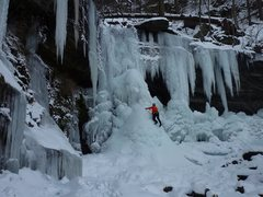 Rock Climbing Photo: Second pitch in early season.  Eventually the area...