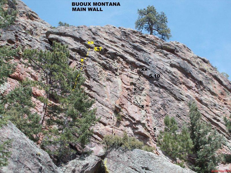Rock Climbing Photo: Jugs (black). Unknown Jug Haul (yellow).