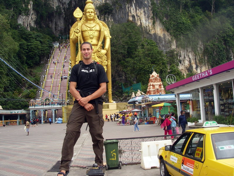 The main climbing area in Kuala Lumpur is at Batu Caves, a mile or so form this huge cave temple.