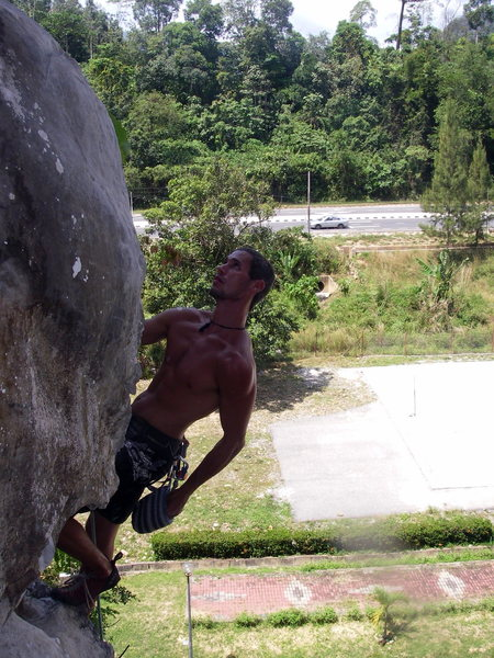 Fa on my first route, Carona 6a at Gau Musang.<br>