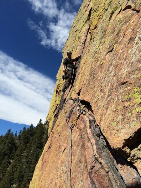 Rock Climbing Photo: Fourth pitch traverse and crack in Eldo