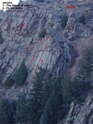 Rock Climbing Photo: Jericho topo photo, showing approach and routes.