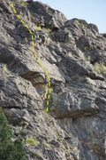 Rock Climbing Photo: Zion Train upper pitch, crux section.