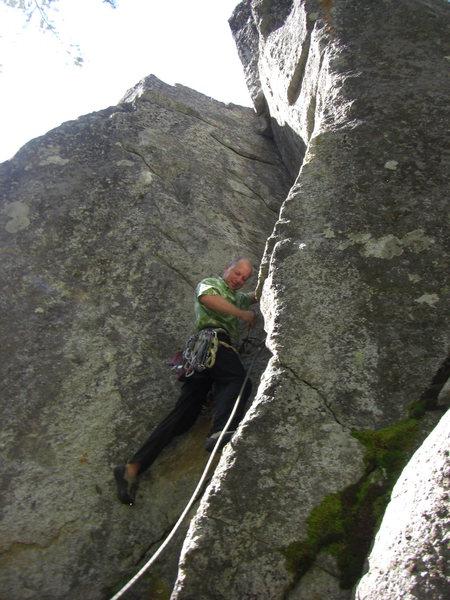 "Rock Climbing Photo: vince cruising classic crack on the ""5.9 Wall..."