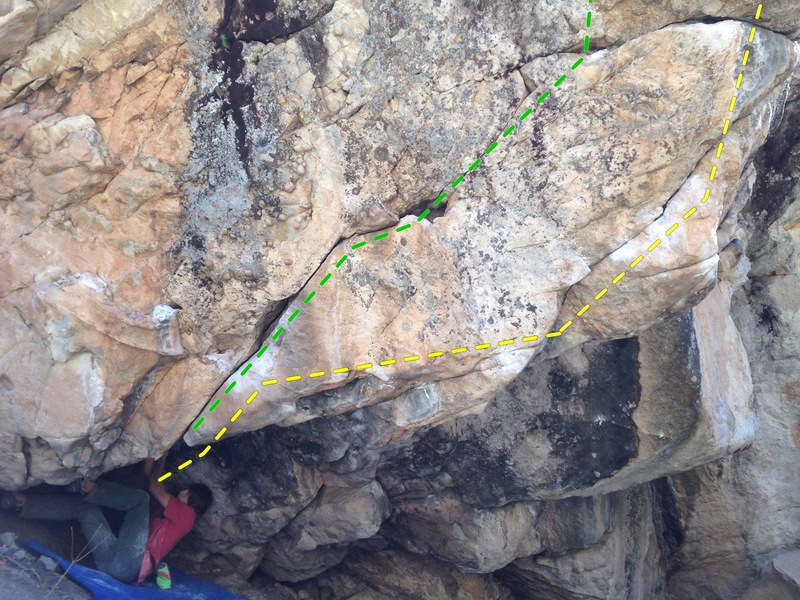 Yellow - The Oracle (V9) starts where Wyeth is.<br> Green - Achilles Heel (V3ish?) stand start.
