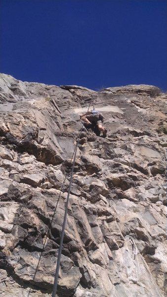 Rock Climbing Photo: Bryce nearing the chains on Smirkin' Smith.