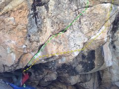 Yellow - The Oracle (V9) starts where Wyeth is. <br />Green - Achilles Heel (V3ish?) stand start. <br />