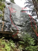 Rock Climbing Photo: Left side of balls wall. pack rat den in the back ...