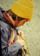 Rock Climbing Photo: Henry Barber racking up on the day of the first as...