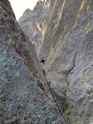 Rock Climbing Photo: Looking down the dihedral pitch, definitely the be...