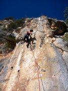 Rock Climbing Photo: Nico and her shadow on Mataillos lugareños