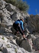 Rock Climbing Photo: Upper fun jugs on Aetna.  Anchor up and to the rig...