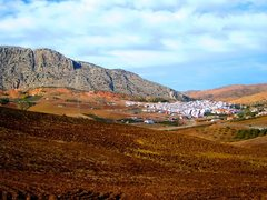 Rock Climbing Photo: Town of Valle de Abdalajis from the highway across...