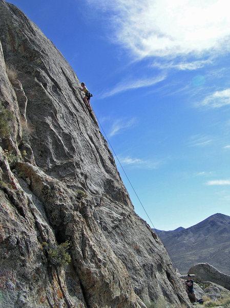 Rock Climbing Photo: Moving towards the crux.