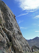 Rock Climbing Photo: Moving towards the crux.
