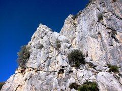 Rock Climbing Photo: Upper Crag at the Arab Steps.  Climber at base of ...