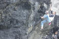 Rock Climbing Photo: Mikey pulls on the same problem.