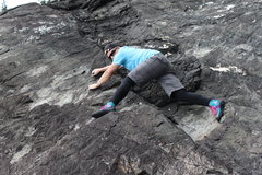 Rock Climbing Photo: Drew Peterson stretched out on the approach boulde...