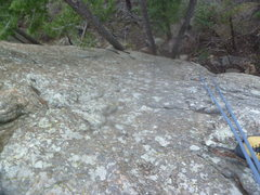 Rock Climbing Photo: Looking down on the upper slab portion.