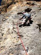 Rock Climbing Photo: Upper part of El Beso de la Flaca.  Pete's head is...