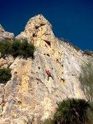 Rock Climbing Photo: Climber on El Beso de la Flaca