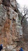Rock Climbing Photo: Getting past the crux