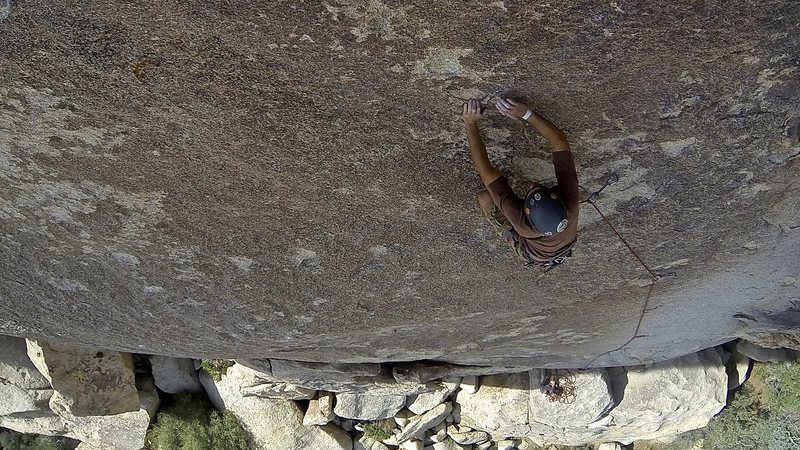 The final moves to the belay