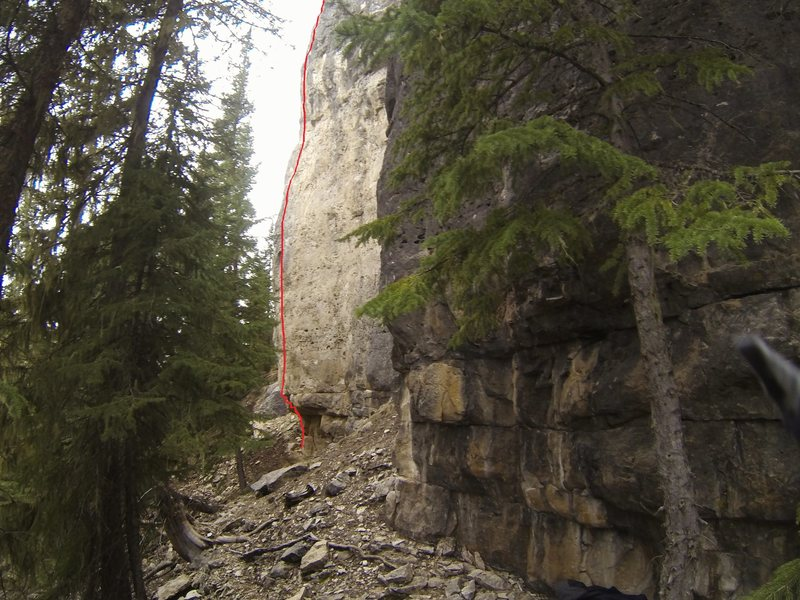 Another topo for &quot;A Little Kush For the Final Push&quot;, 5.11c.<br> <br> &quot;Stakes Are High and So Am I&quot; is just to the right of &quot;A Little Kush&quot; and &quot;Freaking High&quot; is just to the right of &quot;Stakes&quot;.
