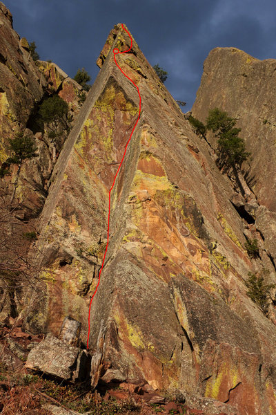 The Bro'd Less Traveled, with the belay atop pitch one indicated above the roof.