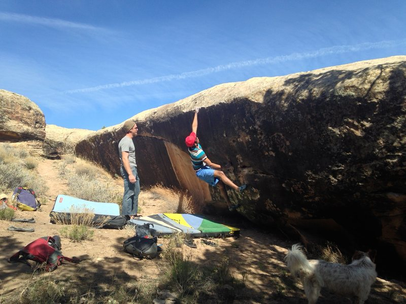 Rock Climbing Photo: Jonathan getting the first big move. It only gets ...