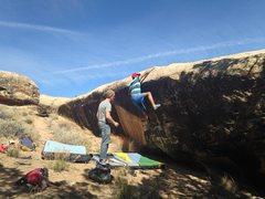 Rock Climbing Photo: Jonathan moving toward the top.