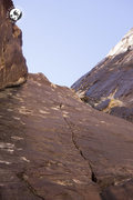 Rock Climbing Photo: The amazing .11a splitter finger crack pitch of Bl...