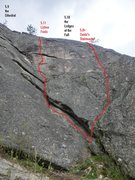 Rock Climbing Photo: Lichen Fools relative to the dihedral etc.